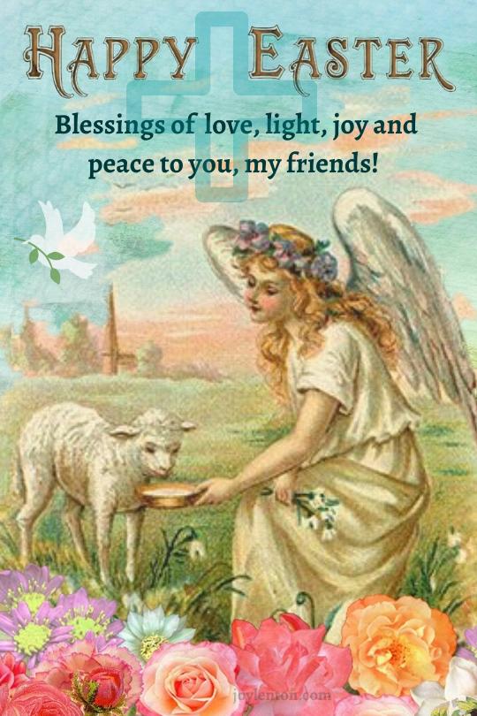 thirsty - angel - lamb - flowers - cross - dove - Easter blessing @joylenton.com