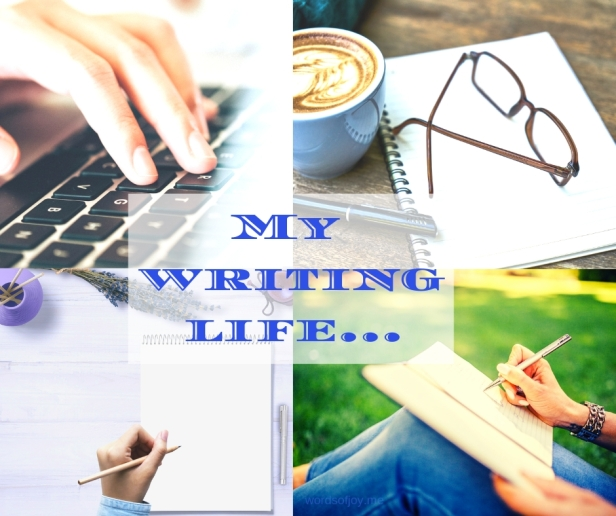 My writing life - typing - writing - coffee - thinking space (C)joylenton @wordsofjoy.me