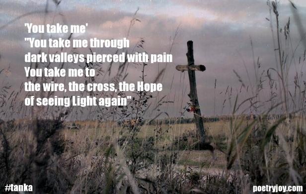 cross image ~ You take me tanka poem pin