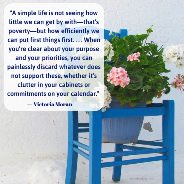 simplicity - chair - flowers - white wall -A simple life quote by Victoria Moran @wordsofjoy.me