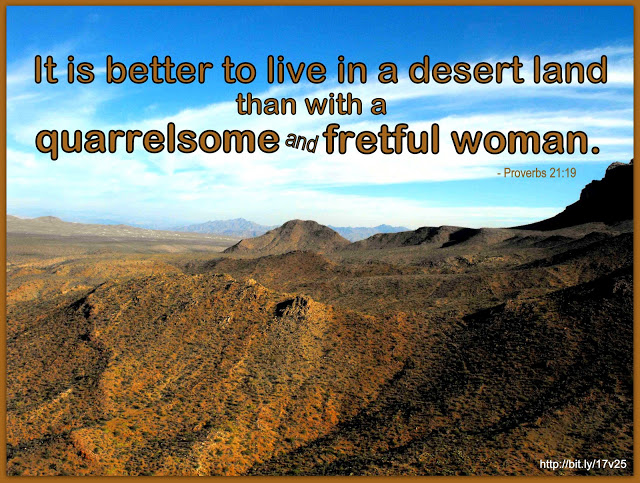 how we speak quote - it is better to live in a desert land than with a quarrelsome and fretful woman - proverbs 21:19 @wordsofjoy.me