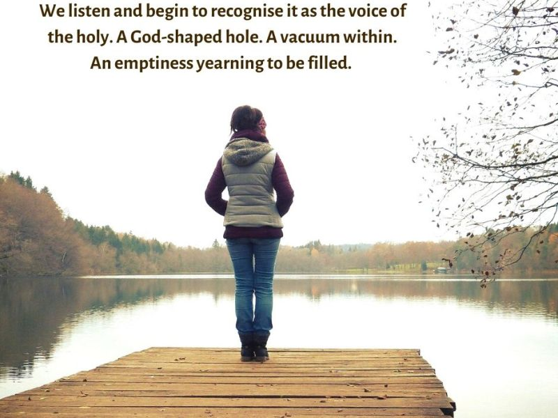 desire - woman alone by a lake - We listen and begin to recognise it as the voice of the holy quote (C) joylenton @joylenton.com