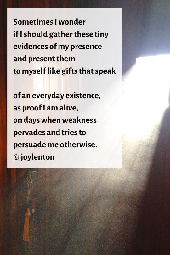 dust motes - evidences poem (C) joylenton @joylenton.com