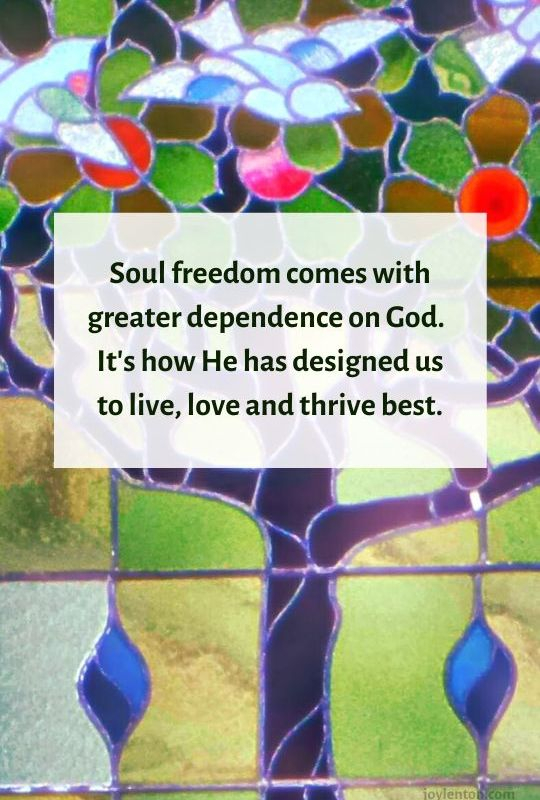 slow - tree- doves - stained glass window - Soul freedom comes with greater dependence on God quote (C) joylenton @joylenton.com