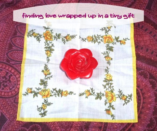 love - red rose shaped candle - yellow rose handkerchief - when love comes wrapped up in a tiny gift (C) joylenton @joylenton.com