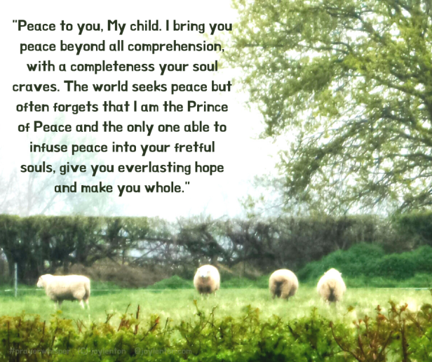 peace - grass - sky - sheep - trees - peace and presence prayer whisper excerpt (C) joylenton @joylenton.com