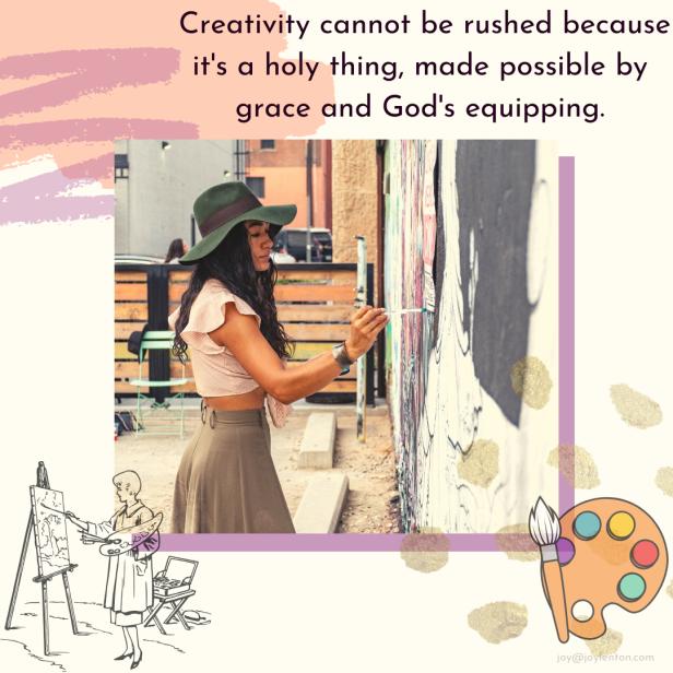 creativity - painting - palette - artist at work - creativity cannot be rushed quote (C) joylenton @joylenton.com