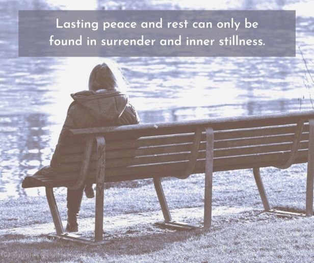 lake - Lasting peace and rest can only be found in surrender and inner stillness quote (C) joylenton @joylenton.com