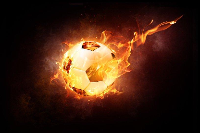 football fireball with dark background